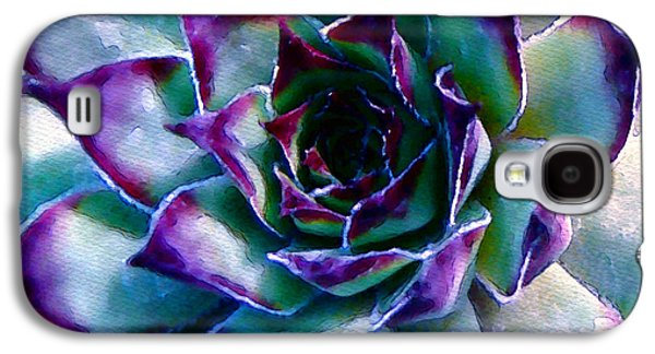 Botanical Digital Art Galaxy S4 Cases - Hens and Chicks series - Evening Hues Galaxy S4 Case by Moon Stumpp