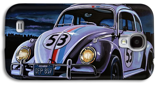 Character Portraits Paintings Galaxy S4 Cases - Herbie The Love Bug Galaxy S4 Case by Paul Meijering