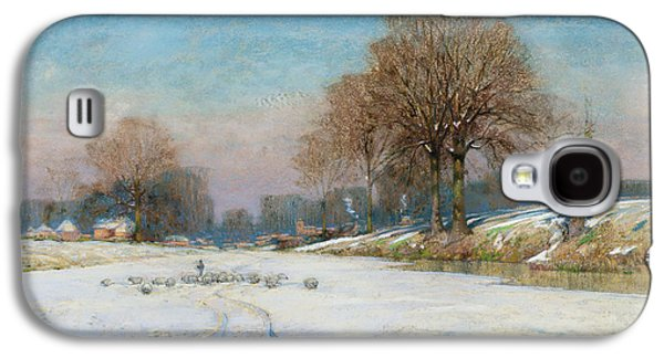 Snow-covered Landscape Galaxy S4 Cases - Herding Sheep in Wintertime Galaxy S4 Case by Frank Hind