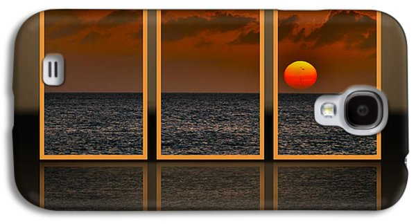 Sunset Abstract Galaxy S4 Cases - Here goes the sun - Triptych Galaxy S4 Case by Claudia Mottram