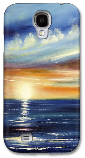 Sunset Abstract Paintings Galaxy S4 Cases - Here It Goes 2 Galaxy S4 Case by Gina De Gorna