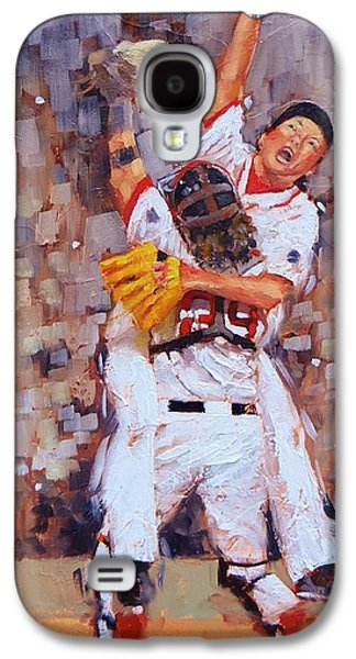 Red Sox Paintings Galaxy S4 Cases - Here We Come Galaxy S4 Case by Laura Lee Zanghetti