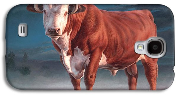 Steer Paintings Galaxy S4 Cases - Hereford bull Galaxy S4 Case by Hans Droog