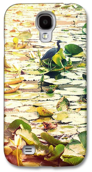 Lilly Pad Galaxy S4 Cases - Heron Among Lillies Photography Light Leaks Galaxy S4 Case by Chris Andruskiewicz