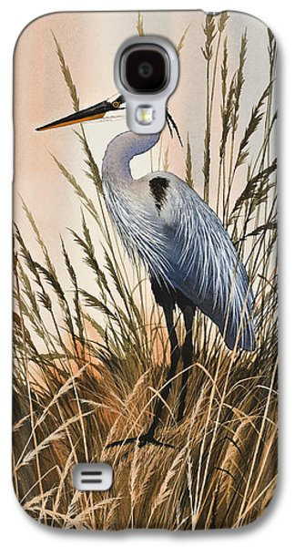 Heron Paintings Galaxy S4 Cases - Heron in Tall Grass Galaxy S4 Case by James Williamson