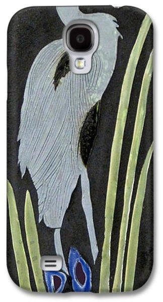 Tile Mosaic Ceramics Galaxy S4 Cases - Heron Galaxy S4 Case by Janet Gadallah