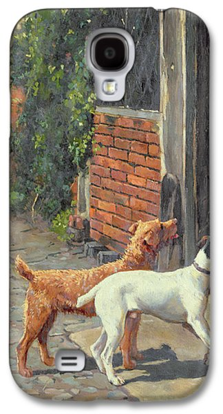Dog Paintings Galaxy S4 Cases - Hesitation Galaxy S4 Case by Alfred Duke
