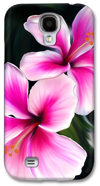 Botanical Pastels Galaxy S4 Cases - Hibiscuses Galaxy S4 Case by Laura Bell