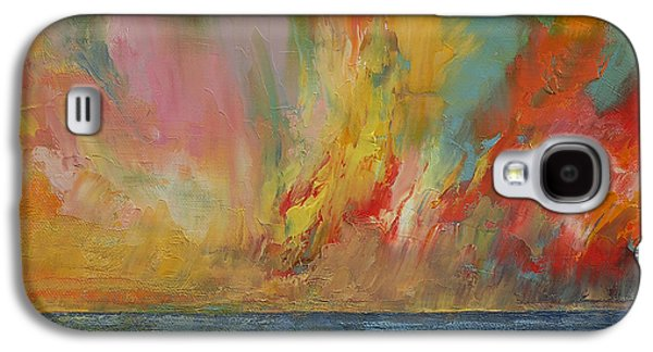 Sunset Abstract Galaxy S4 Cases - Hidden Heart Lava Sky Galaxy S4 Case by Michael Creese