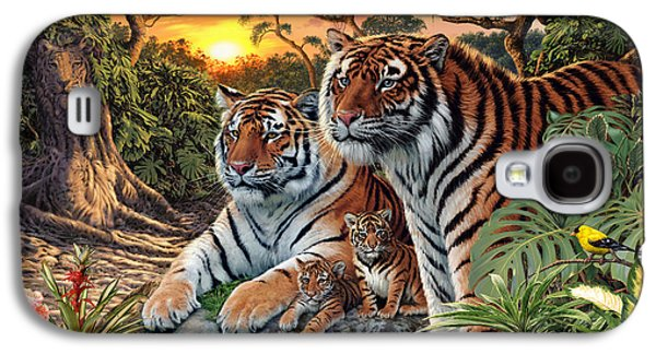 Botanical Galaxy S4 Cases - Hidden Images - Tigers Galaxy S4 Case by Steve Read