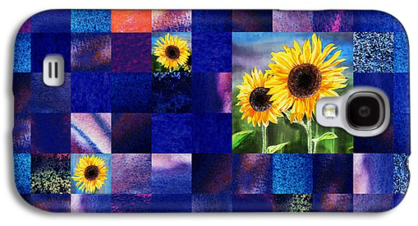 Sell Paintings Galaxy S4 Cases - Hidden Sunflowers Squared Abstract Design Galaxy S4 Case by Irina Sztukowski