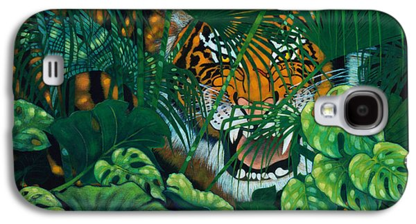 The Tiger Paintings Galaxy S4 Cases - Hidden Tiger Galaxy S4 Case by Ken Church