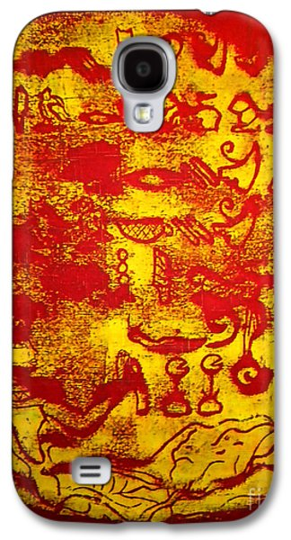 Ancient Tapestries - Textiles Galaxy S4 Cases - Hieroglyphic Galaxy S4 Case by Simonne Mina