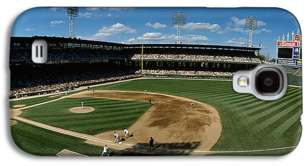 Sports Photographs Galaxy S4 Cases - High Angle View Of A Baseball Match Galaxy S4 Case by Panoramic Images