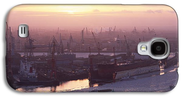 Hamburg Galaxy S4 Cases - High Angle View Of Container Ships Galaxy S4 Case by Panoramic Images