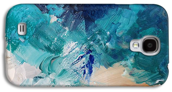 Abstract Nature Mixed Media Galaxy S4 Cases - High As A Mountain- Contemporary Abstract Painting Galaxy S4 Case by Linda Woods