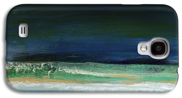 Nature Abstracts Mixed Media Galaxy S4 Cases - High Tide- Abstract Beachscape Painting Galaxy S4 Case by Linda Woods