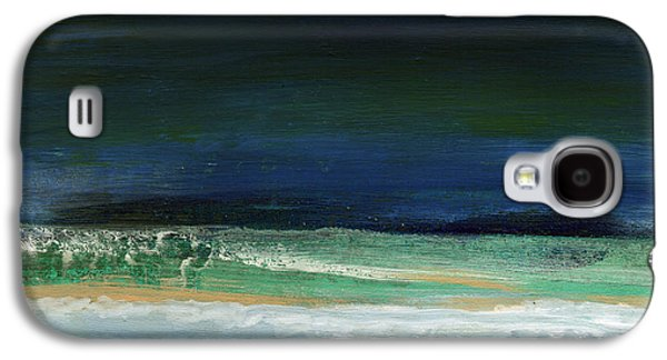 Nature Abstract Galaxy S4 Cases - High Tide- Abstract Beachscape Painting Galaxy S4 Case by Linda Woods