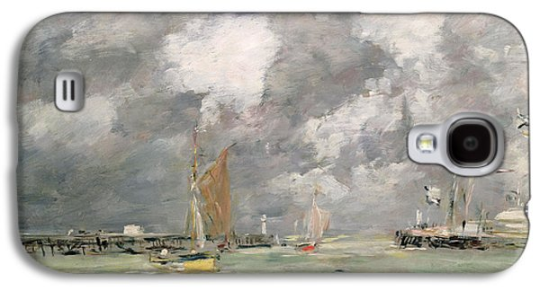 Docked Boat Galaxy S4 Cases - High Tide at Trouville Galaxy S4 Case by Eugene Louis Boudin