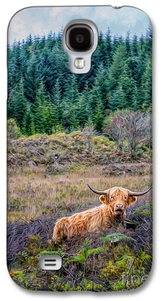 Wavy Galaxy S4 Cases - Highland Cow Galaxy S4 Case by Adrian Evans