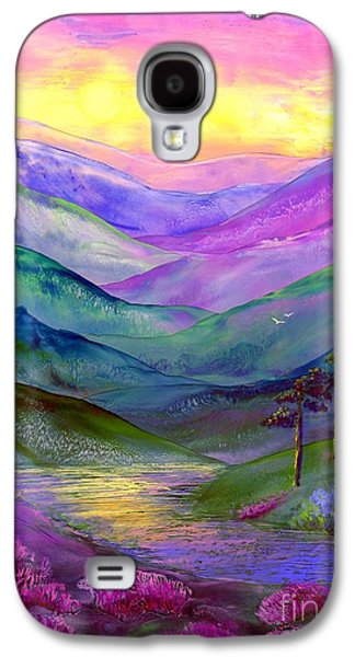 Purple Paintings Galaxy S4 Cases - Highland Light Galaxy S4 Case by Jane Small