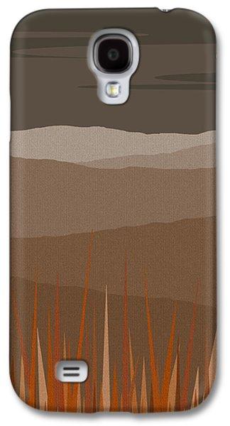 Color Block Galaxy S4 Cases - Hilltop Sunset - Orange Sun - Landscape Galaxy S4 Case by Val Arie
