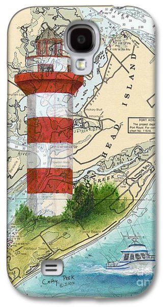 Chart Paintings Galaxy S4 Cases - Hilton Head Island Lighthouse SC Nautical Chart Map Art Cathy Peek Galaxy S4 Case by Cathy Peek