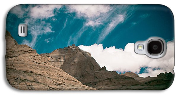 Greeting Cards Pyrography Galaxy S4 Cases - Himalyas mountains in Tibet with clouds Galaxy S4 Case by Raimond Klavins