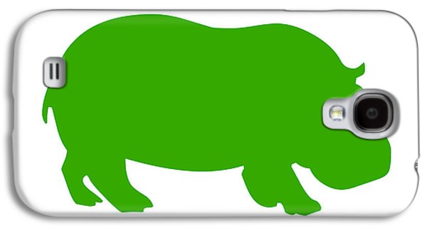 Hippopotamus Digital Galaxy S4 Cases - Hippo in Green and White Galaxy S4 Case by Jackie Farnsworth