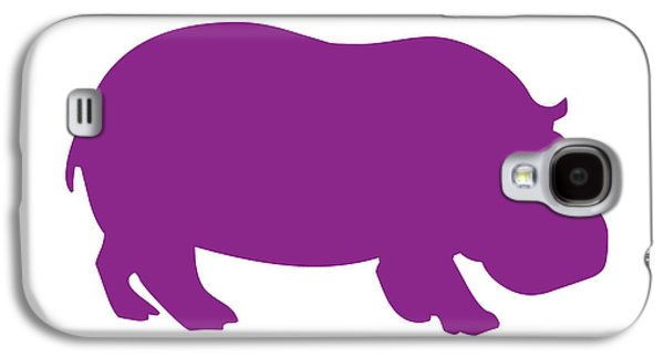 Hippopotamus Digital Galaxy S4 Cases - Hippo in Purple and White Galaxy S4 Case by Jackie Farnsworth