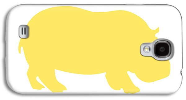 Hippopotamus Digital Galaxy S4 Cases - Hippo in Yellow and White Galaxy S4 Case by Jackie Farnsworth