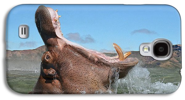 Hippopotamus Digital Galaxy S4 Cases - Hippopotamus Bursting out of the Water Galaxy S4 Case by Jim Fitzpatrick