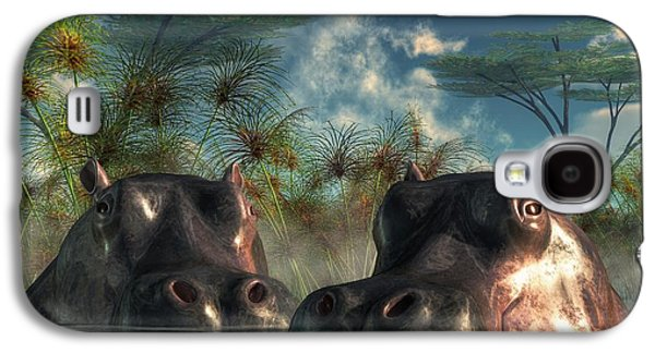 Hippopotamus Digital Galaxy S4 Cases - Hippos Are Coming To Get You Galaxy S4 Case by Daniel Eskridge
