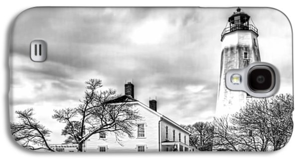 Base Path Galaxy S4 Cases - Historic Sandy Hook Lighthouse in black and white Galaxy S4 Case by Geraldine Scull