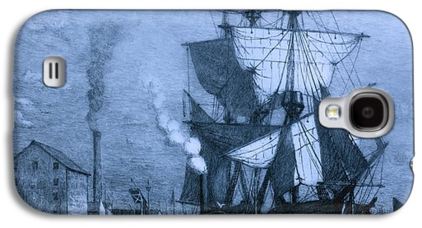 Historic Schooner Galaxy S4 Cases - Historic Seaport Blue Schooner Galaxy S4 Case by John Stephens