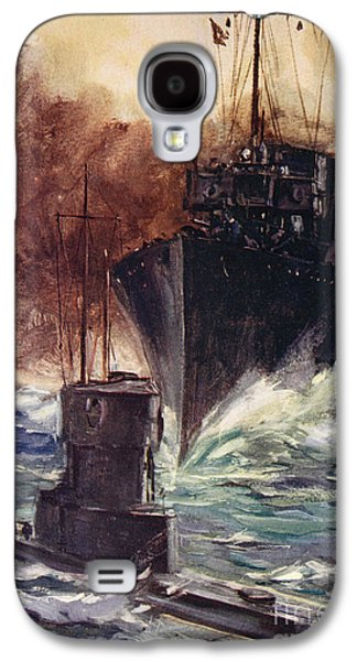 Wwi Paintings Galaxy S4 Cases - HMS Badger ramming a German submarine Galaxy S4 Case by Cyrus Cuneo