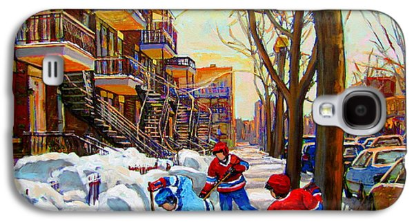 Montreal Streets Paintings Galaxy S4 Cases - Hockey Art - Paintings Of Verdun- Montreal Street Scenes In Winter Galaxy S4 Case by Carole Spandau