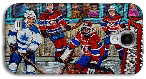Streethockey Paintings Galaxy S4 Cases - Hockey Art Vintage Game Montreal Forum Galaxy S4 Case by Carole Spandau