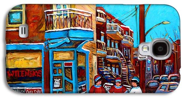 Streethockey Paintings Galaxy S4 Cases - Hockey At Wilenskys Diner Galaxy S4 Case by Carole Spandau