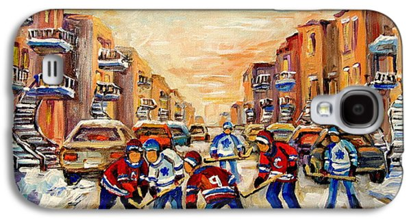 Hockey Sweaters Paintings Galaxy S4 Cases - Hockey Daze Galaxy S4 Case by Carole Spandau
