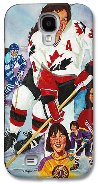 Hockey Paintings Galaxy S4 Cases - Hockey Hall of Famer Geraldine Heaney Galaxy S4 Case by Derrick Higgins