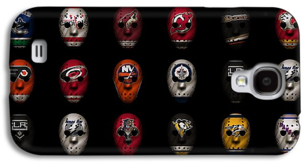 Hockey Photographs Galaxy S4 Cases - Hockey Jersey Goalie Masks Galaxy S4 Case by Joe Hamilton