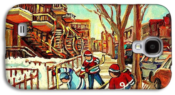 Streethockey Paintings Galaxy S4 Cases - Hockey Paintings Verdun Streets And Staircases  Winter Scenes Montreal City Scene Specialist   Galaxy S4 Case by Carole Spandau