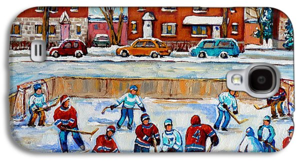 Afterschool Hockey Paintings Galaxy S4 Cases - Hockey Rink At Van Horne Montreal Galaxy S4 Case by Carole Spandau