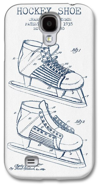 Antique Skates Galaxy S4 Cases - Hockey Shoe Patent Drawing From 1935- Blue Ink Galaxy S4 Case by Aged Pixel