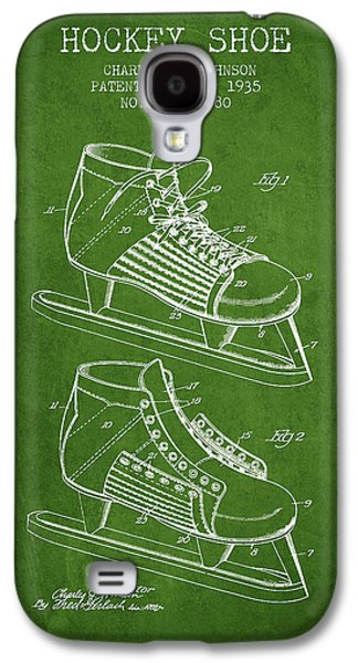 Antique Skates Galaxy S4 Cases - Hockey Shoe Patent Drawing From 1935 - Green Galaxy S4 Case by Aged Pixel
