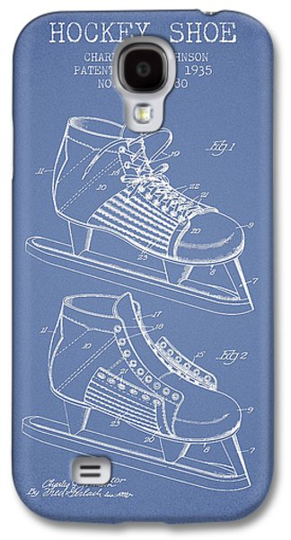 Antique Skates Galaxy S4 Cases - Hockey Shoe Patent Drawing From 1935 - Light Blue Galaxy S4 Case by Aged Pixel