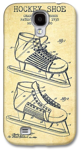 Antique Skates Galaxy S4 Cases - Hockey Shoe Patent Drawing From 1935 - Vintage Galaxy S4 Case by Aged Pixel