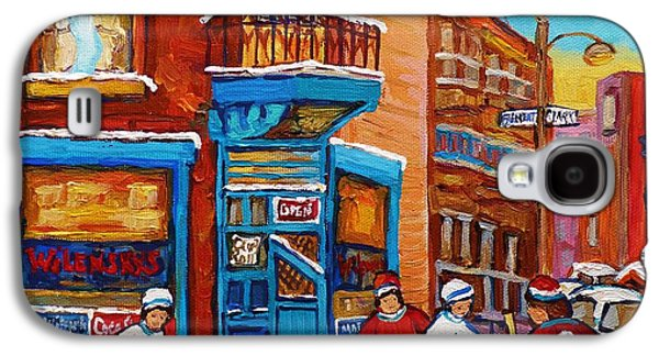 Hockey Sweaters Paintings Galaxy S4 Cases - Hockey Stars At Wilenskys Diner Street Hockey Game Paintings Of Montreal Winter  Carole Spandau Galaxy S4 Case by Carole Spandau