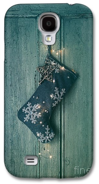 Celebration Photographs Galaxy S4 Cases - Holiday stocking with lights hanging on old door Galaxy S4 Case by Sandra Cunningham
